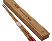 Custom Engraved Red Japanese Bamboo Chopsticks (1 Pair)- Personalized Wooden Lucky Chopsticks, Wedding Party Favors Wood Boxes, Bride, Groom