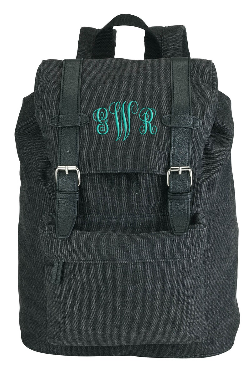 Personalized Gifts Hooded Padded Computer Tablet Pocket with Drawstring Magnetic Snap /& Belt Closure Canvas Backpack Custom Monogram Bags