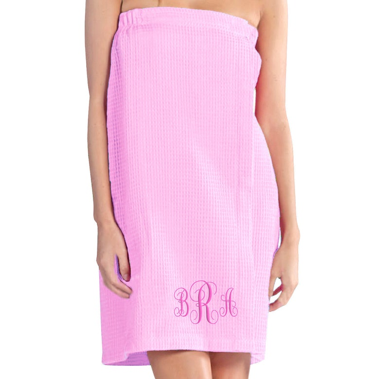 Soft Pink Luxury Women's Waffle Weave Bath Spa Towel Wrap image 0