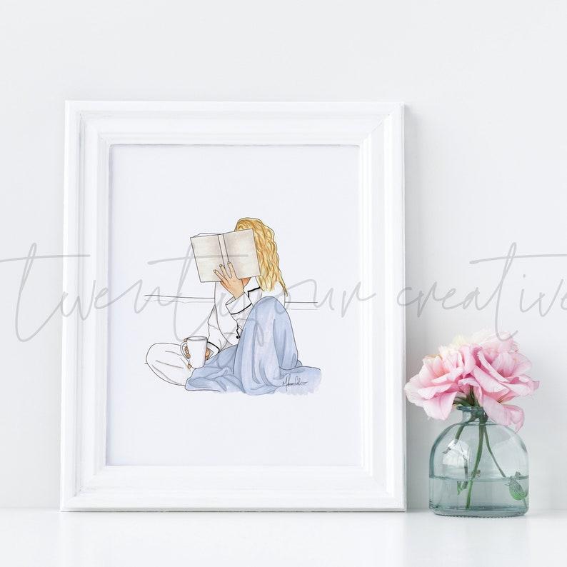 Fashion Illustration Print Instant Download Wall Decor Home Decor Illustration Art Fashion Sketch prints Blonde Book In Bed