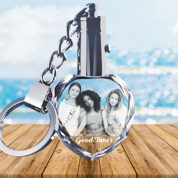 Custom Personalized Crystal Glass Photo Key chain ring Heart Birthday Wedding
