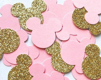 Gold glitter black CARD Disney Mickey Mouse head ears table sprinkles confetti