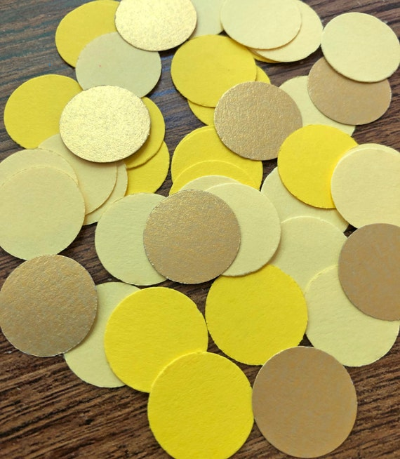 "50 or 100 pieces Light yellow 2/"" circle card stock paper confetti"