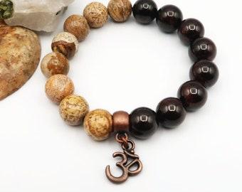 coppersilver spacers Labradorite stretch mala bracelet chunky 10mm beads yoga meditation bracelet