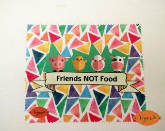 vegan microfiber cleaning cloth glasses FRIENDS NOT FOOD
