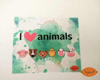 vegan microfiber cleaning cloth glasses I LOVE ANIMALS