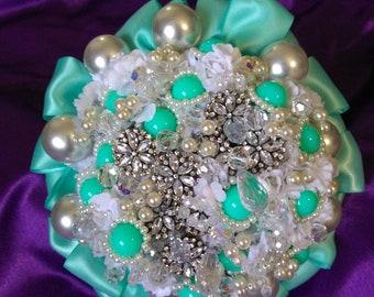 Handmade bead satin fake flower heirloom brooch bouquet