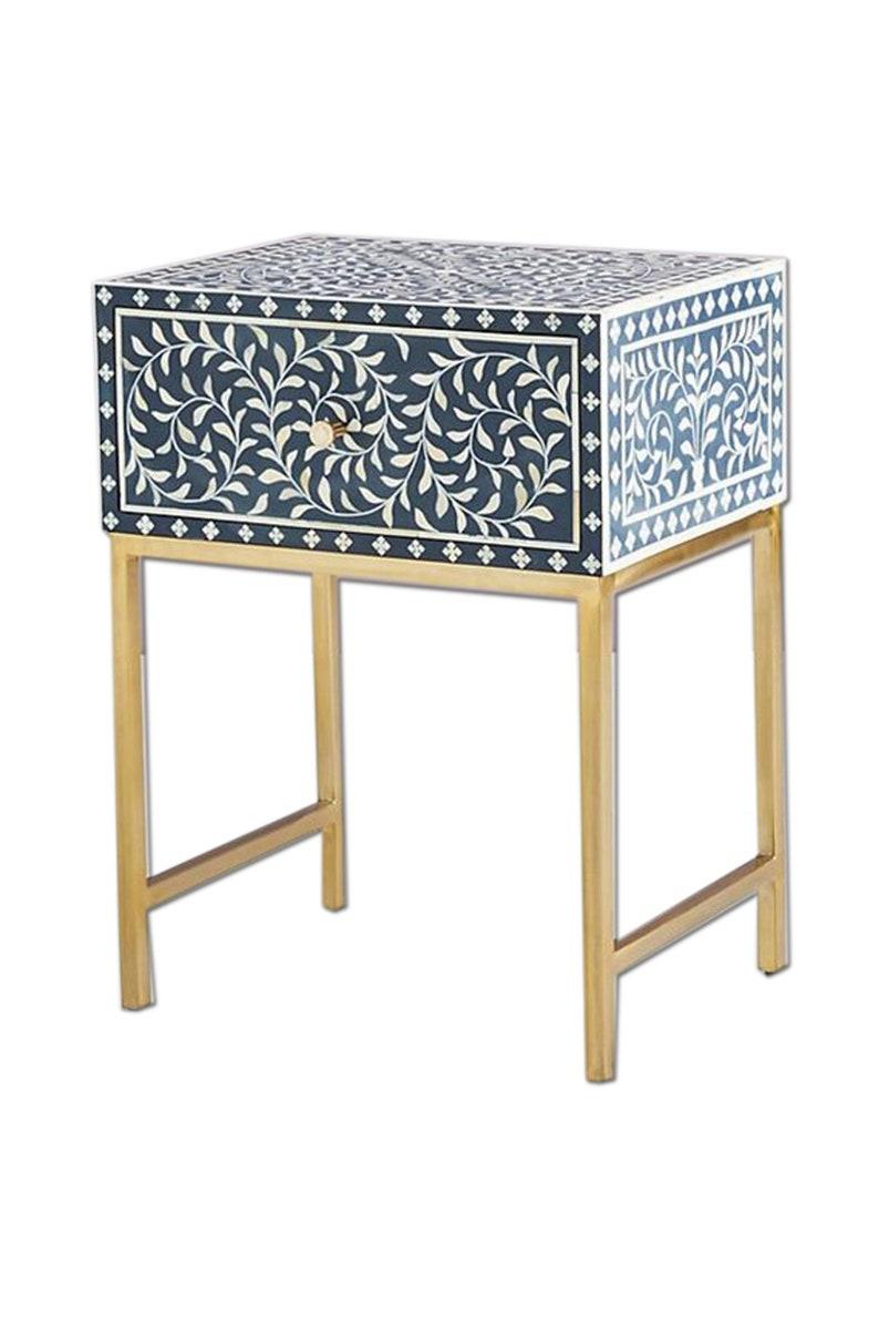 Ordinaire Bone Inlay Bedside Table In Blue Color Handmade Bone Inlay | Etsy