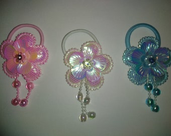 Shimmery Flower Ponytail Holder/Elastic Band