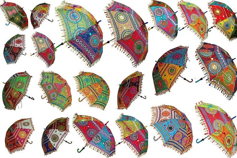 Indian Patchwork Handmade Umbrella Sun Protection Woman Umbrella Parasol Bohemian Embroidered Patchwork Umbrellas Wedding Decoration