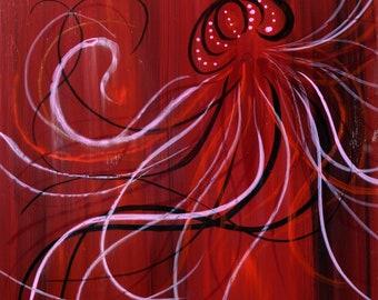 painting original art jellyfish medusa red