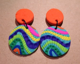 Polymer clay statement circles earrings