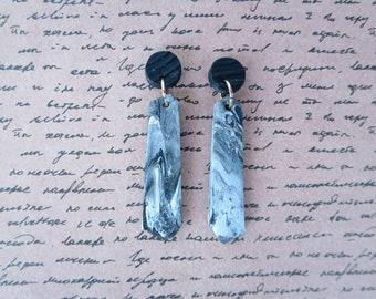 Grey marble polymer clay dangle earrings