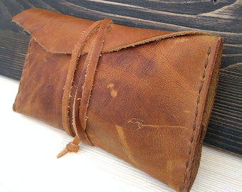 Leather Tobacco Pouch * Rolling Case * Leather Pouch * Tobacco Case * Tobacco Bag * Travel Pouch * Handmade Pouch * Tobacco Wallet,ID Wallet