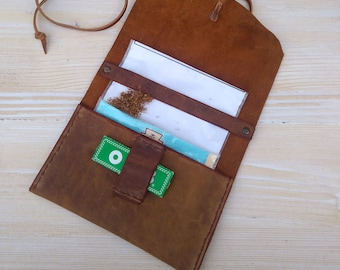 Tobacco Pouch * Leather Pouch * Tobacco Case * Tobacco Wallet * Travel Wallet * Tobacco Bag * Rolling Case * Travel Pouch , Men's Leather