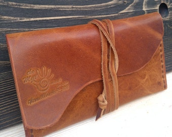 Leather Tobacco Pouch * Leather Pouch * Tobacco Case * Brown Pouch * Tobacco Bag * Rolling Case * Travel Pouch , Handmade Pouch