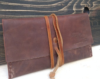 Leather Rolling Case * Travel Pouch * Tobacco Pouch * Leather Pouch * Tobacco Case * Tobacco Leather Wallet * Bikers Pouch , Handmade Pouch