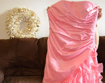Long Peach Mermaid / Prom / Evening Dress