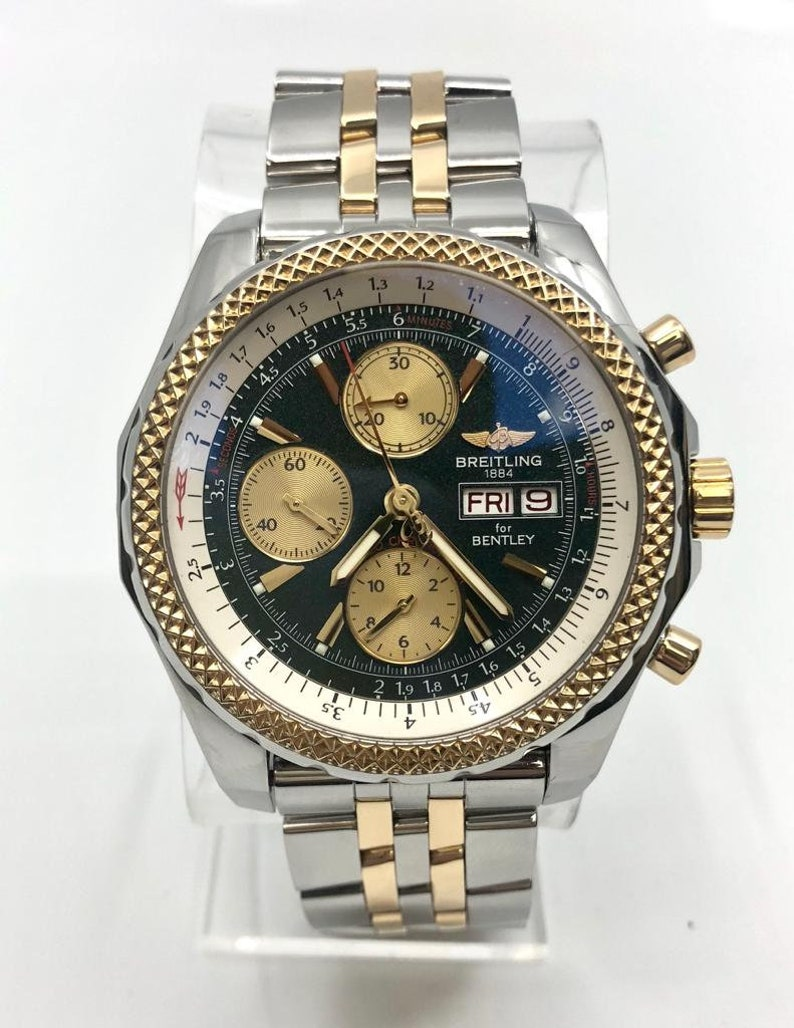 Breitling Bentley Two Tone Yellow Gold Stainless Steel Watch