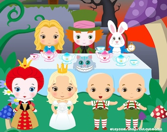 Wonderland Clipart, Alice in Wonderland Clipart, Vector Wonderland Clipart, Wonderland Papers, Commercial License Included