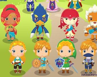 Leyenda de Zelda Legend of Zelda clipart Breath of the Wild Zelda clipart Zelda digital papers Link digital clipart Majora/'s Mask