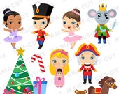 Nutcracker Clipart, Vintage Toy Christmas Ballet, Nutcracker Ballet digital clipart set, Christmas digital clipart, SVG, PNG, EPS