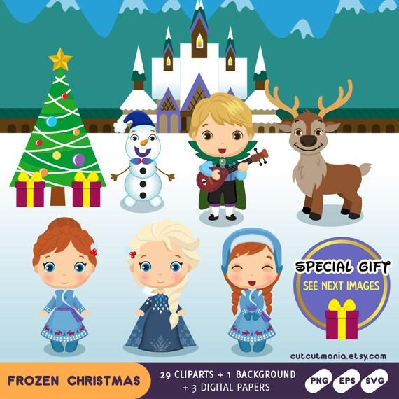 Frozen Christmas.Frozen Christmas Frozen Digital Clipart Snow Princess Anna Clipart Elsa Clipart Disney Princess Olaf Clipart Christmas Princess Party