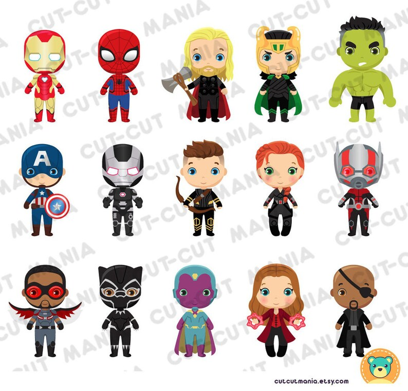 Cute Avengers clip arts Avengers SVG Super Heroes Cliparts PNG files Cute Marvel Heroes cliparts Avengers Party Avengers cliparts set