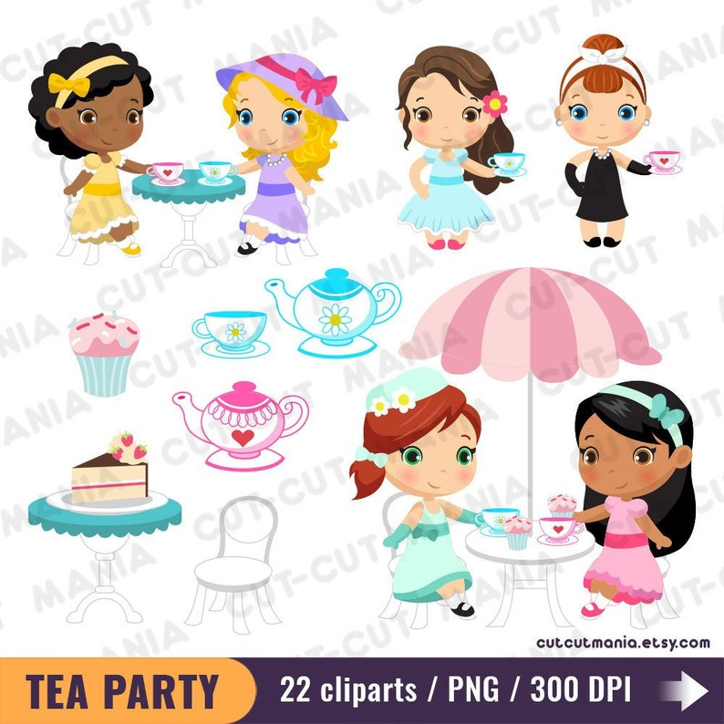 ladies tea party clipart