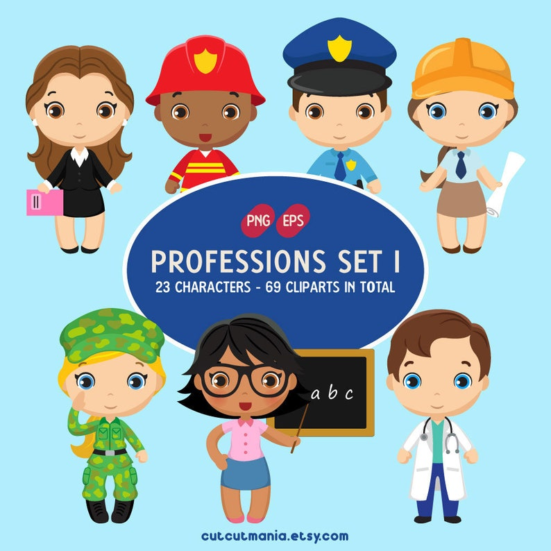 Professions clipart set 1, Job Occupation Clipart, Fireman Clipart, Doctor  Clipart, Police Clipart, PNG and EPS instant download