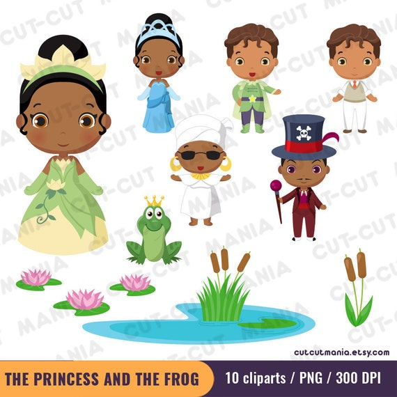 The Princess And The Frog Clipart Set Disney Princess Etsy