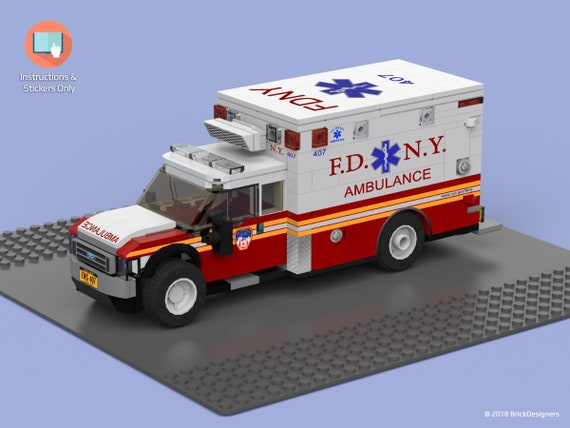 Stickers And Instructions To Build A Lego Fdny Ambulance Etsy