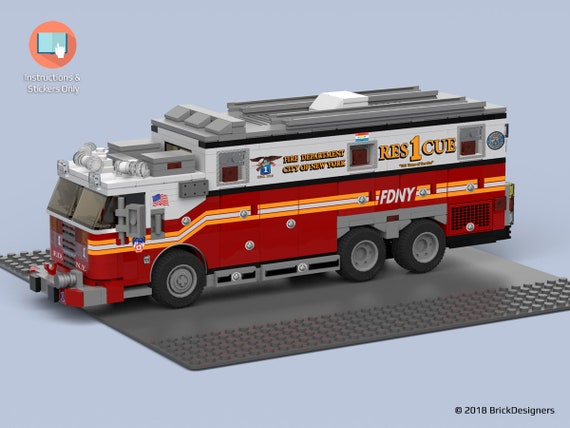 Stickers And Instructions To Build A Lego Fire Truck Fdny Etsy