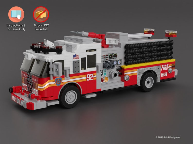 Stickers and Instructions to build a Custom Lego Fire Truck - Engine - NO  LEGO BRICKS Included - Please read description