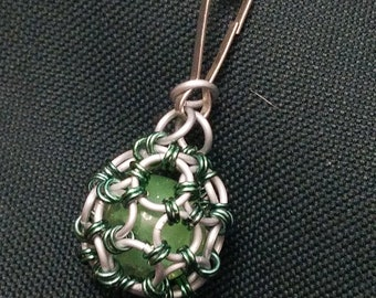 Green Chainmaille Caged Marble Charm