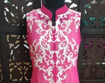 Pink and white floor length top