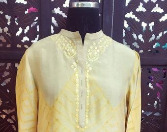 Yellow and grey shibori tunic