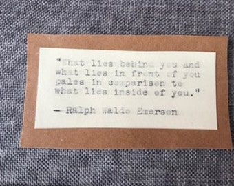 What lies behind ... Emerson quote type-writer magnet