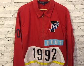 74b4c8cf67e Polo Ralph Lauren Stadium Collection 1992 P Wing Windbreaker RL 67 Red  Jacket Size M