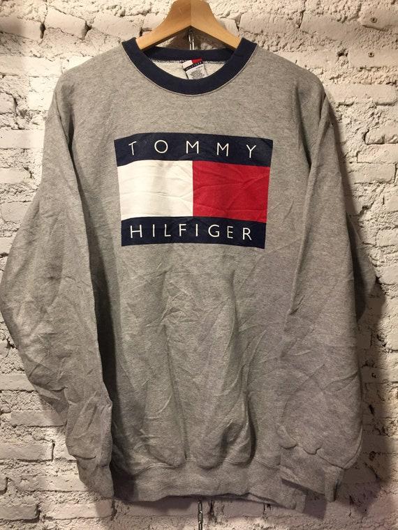 Vintage 90's Tommy Hilfiger Spell out big flag logo Sweater Sweatshirt