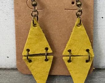 Boucles d'oreilles jaune cuir géométrique