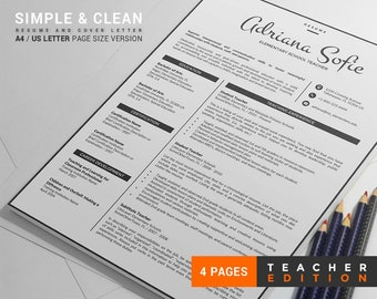 Modern Teacher Resume Template / Teacher CV Template + Cover Letter + Reference Letter, 4 Pages Creative Resume Design, Easy to Edit