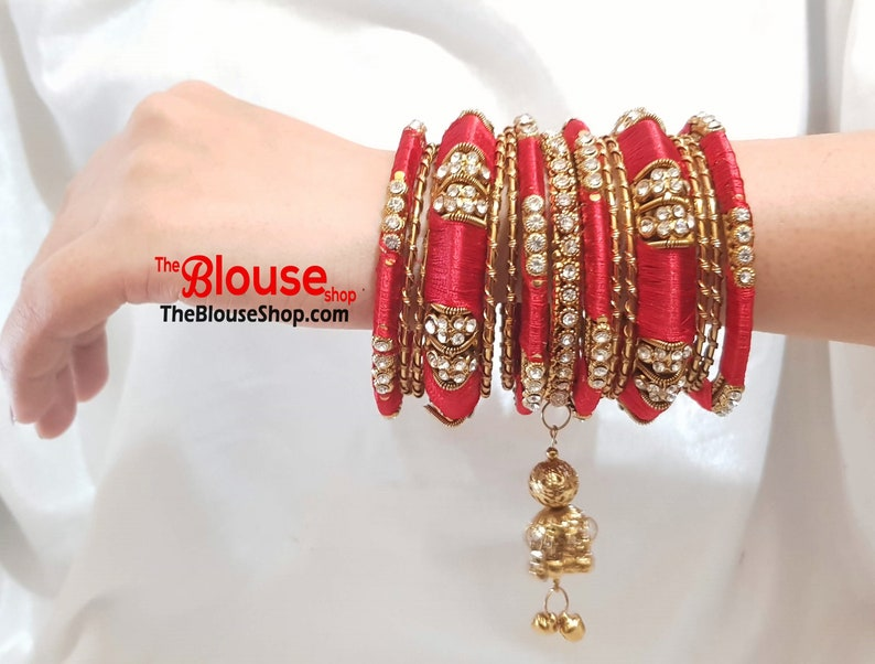ee47930becbc Indian Bangles Silk Thread Bangles Bangle Set Red Gold Plated