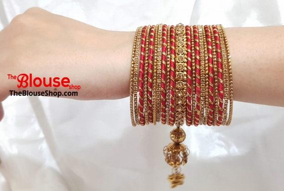 Indian Bangles Silk Thread Bangles Bangle Set Gold Plated New Etsy