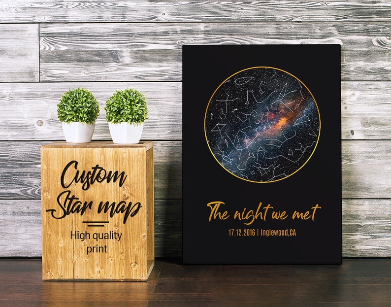 Custom Star Map Framed Personalized Star Map Night Sky Map Poster Celestial  Map First Anniversary Gift Star Constellation Wedding 05G #G