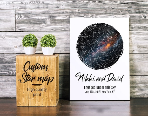Sky Star Maps Engagement Gift For Couple Wedding Gift Ideas Etsy