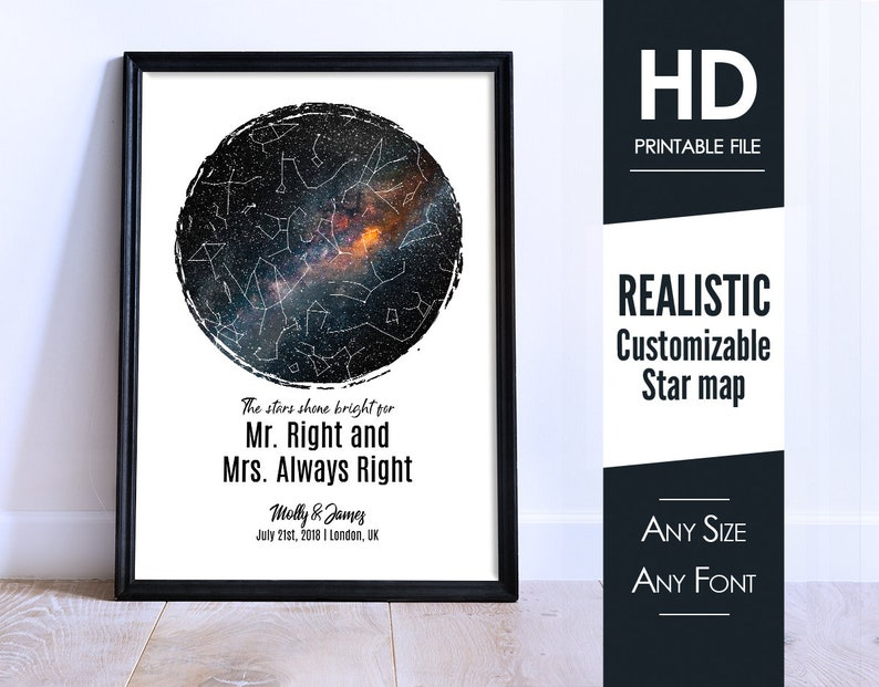wall art W09 printable Star Map By Date Custom couple family print framed poster DIGITAL DOWNLOAD gift for poster her personalized him
