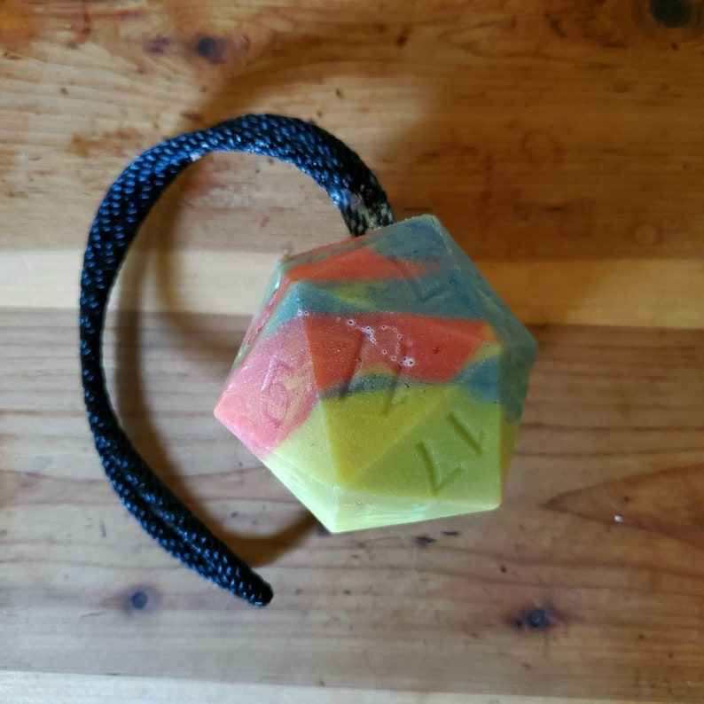 dSoapy on a Ropey  VEGAN d20 soap on a rope for sensitive image 0