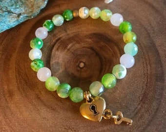 Green agate bracelet and key to my heart