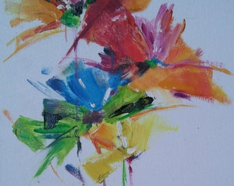 flowers bright red blue yellow Oil Painting on canvas cardboard sale